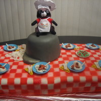 """the Racoon The theme of VBS was Racoon, cooking. so, we airbrushed a fondant tablecloth, made fondant plates, silverware, pot and speghetti. Racoon..."