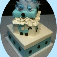 Tori's Baby Shower Cake This was the cake I made for my daughter's baby shower. The bottom tier is a blue velvet cake with a white chocolate mousse filling,...