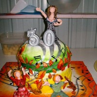 Claire's Family-Singing-Together-Musical-Note-Autumny-Leafy-Themed Doublestacker 30Th Birthday Cake! :) A friends 30th birthday cake...She wanted her family on it with a love for music & singing & because it was autumn & she liked...