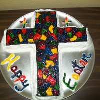 Stained Glass Easter Cross Cake Stained Glass look made with gel icing.