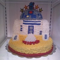 "Tristan's R2-D2 Birthday Cake R2- D2 cake made by stacking rounds and using a one half of 3D sports ball pan for the top of his head. ""Tristan"" in molded..."