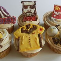 The Big Lebowski Cupcakes white russian cupcakes with kahlua buttercream. Most accents made from candy melt.