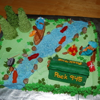 Cub Scout Cake   Cake made for my son's cub scout pack awards ceremony. I took a lot of ideas from various cakes on CC.