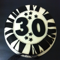 30Th Birthday   Fondant covered fruit cake with zebra print.