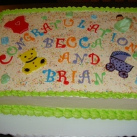 Baby Shower Cake 1/2 sheet, SMBC, fondant accents