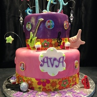 Glee Birthday Cake Glee themed, teen girl's birthday cake, pink/purple, fondant hand & decorations, whimsical