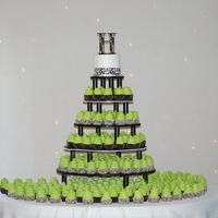 Damask And Lime Green Cupcake Wedding I made this for my cousins wedding last weekend. It was my first time doing a wedding. I learned a lot. It was a damask wedding with lime...