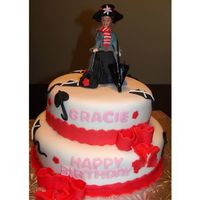 Mary Poppins Birthday Cake This cake is covered in white fondant with fondant umbrellas and kites and big red fondant bows. I made mary using a barbie body and a...