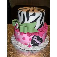 Zebra & Hearts 13Th Birthday fondant covered and decorated with zebra print and hearts. found a very similar pic either here on CC or online! thanks for the inspiration...