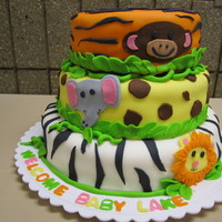 Jungle Baby Shower Cake Found a great inspiration photo and did a few of my own twists! I used the wilton animal cookie cutters for the faces and covered each tier...