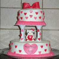 Hello Kitty Birthday girl wanted Hello Kitty with lots of hearts and sparkles. Top of cakes had sugar sprinkles.