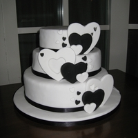 Wedding Cake   heart black and white themed cake