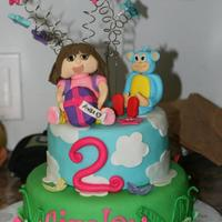 Dora The Explorer Cake This was the first time I have ever made figures. I made the Dora and boots out of gumpaste and all other decorations were made from...