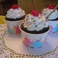 Ice Cream Sundae Cupcakes Chocolate With Chocolate Ganache Buttercream Real Cherries And Sprinkles Found Great Little Silvery Plastic  Ice cream sundae cupcakes - chocolate with chocolate ganache, buttercream, real cherries, and sprinkles. Found great little silvery plastic...