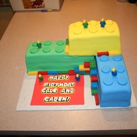 Lego Birthday Lego birthday cake for twin boys. I used silicone molds I found on Amazon to make chocolate Legos and the Lego men. I used a hot knife to...