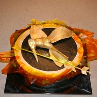 Hunger Games Hunger Games logo cake. Logo is molded from gumpaste, flames are gelatin.