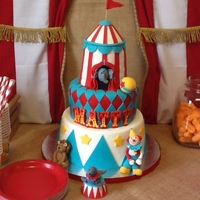Matty's Circus   Made for my son's 4th birthday. Circus tent is rice krispies treat and characters are all fondant.