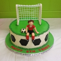 "Teddy""s Soccer Cake   Made for my guy Teddy and his soccer party."
