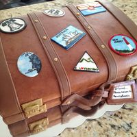 Vintage Suitcase Cake  Made for a new friend and neighbor. All the luggage stickers represent all the places she has lived. This was fun painting all the stickers...