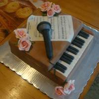 Voice Recital Chocolate cake bathed with Kahlua and crumbcoated with coffee-flavored ganache. The mike is RKTs covered with fondant and the music is an...