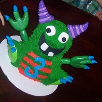 Monster Cake Monster Cake, using wilton bear cake pan. Had a little trouble with the buttercream after I went back to use it after it was cold.