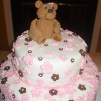 Baby Bear Flower Cake This was my third cake I ever done, as you can tell, but I am getting better