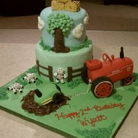 Farm Cake Cake is covered in fondant with fondant decorations. Tractors are made of cereal treats. This was a very fun cake to make.
