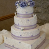 Round,, And Square Wedding Cake   buttercream cake with gumpaste flowers