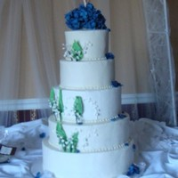 Lily Of The Valley And Hydrangea Wedding Cake  I was against this combo, but the bride insisted. in the end i think it all worked well. (she was rite lol) the lily of the valley is both...