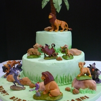 Lion King Cake my coworker wanted the Lion King figurines on the cake..everything else is edible.
