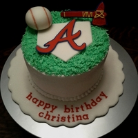 Braves Birthday Cake Made for a coworker who loves the Braves. All decorations are made with home made MMF.