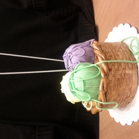 Knitting Basket Cake Inspired by Louise's knitting basket tutorial. All edible except the needles and they are wooden skewers painted with edible silver...