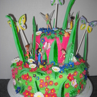 Tinkerbell Butterfly Cake.  Four layer confetti cake. BC frosting. Flowers, butterflies and blades of grass painted fondant. Figures are part of niece's birthday...