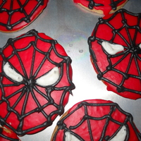 Spidey Sugar Cookies Cookies were a surprise to go with a Spidey cake for a fourth birthday. Cookies were sugar cookies iced with dyed white chocolate and royal...