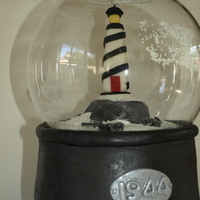 Lighthouse Snow Globe   MMF covered cake. Lighthouse and rocks are MMF.