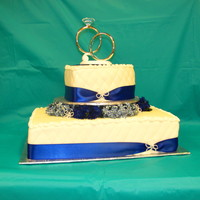 "Royal Blue & Forget Me Nots Bottom tier is a half slab, the top tier is a 8"" heart shaped. Half Chocolate cake and half white cake with Vanilla Mousse filling...."
