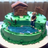 Fishing Birthday All icing with fondant accents. Cabin is rice crispy treats covered in mmf.
