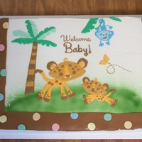 Jungle Theme Baby Shower used napkin to copy for shower. 2- 11x15 cakes side by side. used projector to get image onto cake