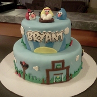 "Angry Birds Birthday 8"" & 12"" cakes covered and decorated with mmf."