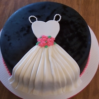 "Bridal Shower Cake 14"" cake covered in fondant. airbrushed black."