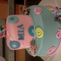 "Littlest Pet Shop 6"" & 10"" cakes. Covered in mmf. Pet shop characters were toys I bought ."