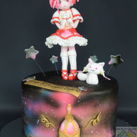 "Puella Magi Madoka Magica Anime Birthday Cake Cake based on the anime "" Puella Magi Madoka Magica"" Red velvet cake with cream cheese flavored buttercream covered with..."