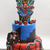 Spider-Man Spider-man cake! KADIN TOPPERS are candle holders. Doc Oct, Spidey, Venom are made from gum paste.