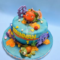 Nemo Cake With Squirt Smash   Cake covered in mmf. All toppers are gum paste.