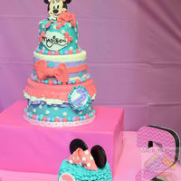 Minnie Mouse Birthday Case  Minnie Mouse cake with matching smash. Cake covered with marshmallow fondant. Table setting and decoration party detail by Brittney Rene...