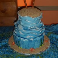Beach Theme Wedding Cakeon Top Of The Cake There Is A Heart Traced Out In The Brown Sugar With The Bride And Rooms Initials In It Ms Beach theme wedding cake..(on top of the cake)---there is a heart traced out in the brown sugar with the bride and rooms initials in it. M+...