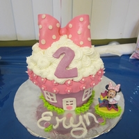 Minnie Mouse Bow-Tique Giant cupcake pan..decorated with fondant and buttercream.