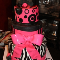 Hot Pink & Black Girly Cake