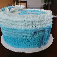 Teal Ombre Ruffle 70Th Bday Cake Chocolate cake with chocolate Kahlua mousse filling and butter cream ombre ruffles. Hand made 50/50 fondant/gumpaste ruffle flowers