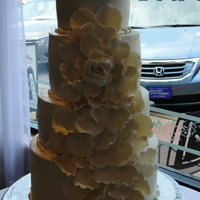 Cascading Petals My version of the cake by the Sweet and Saucy Shoppe....done in ivory. Handmade petals/flowers. TFL!!